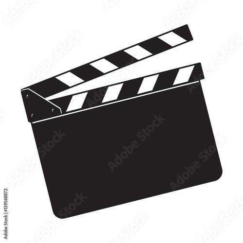 Slika na platnu Blank cinema production black clapper board, sketch style vector illustration isolated on white background
