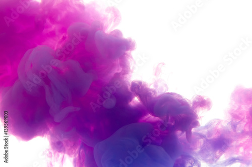 Poster Fumee Colors dropped into liquid and photographed while in motion. Ink shape or swirling in water for design or decorate background or abstract banner with clipping paht on white background..