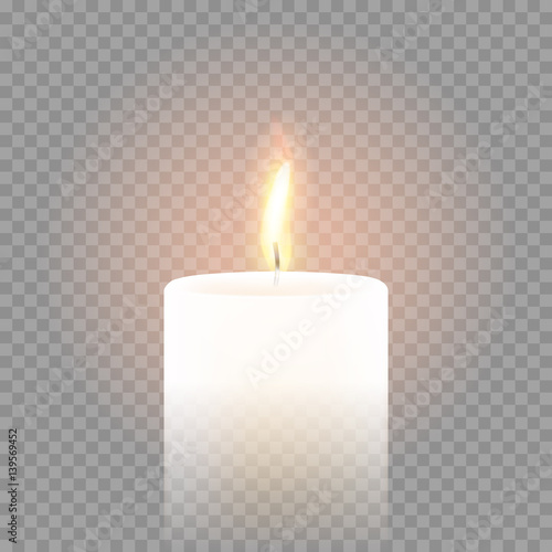 Fotografiet  Candle flame burning 3D realistic vector transparent background