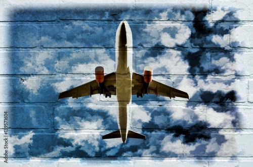 sztuka-uliczna-samolot-na-niebie-moral-na-scianie