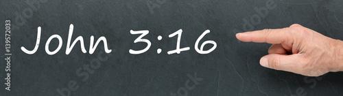 Fotografie, Obraz  John 3:16 on a blackboard