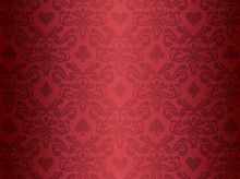 Red Background With Poker Symbols Surrounded By Floral Ornament Pattern