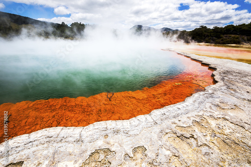 Canvas Prints New Zealand hot sparkling lake in New Zealand