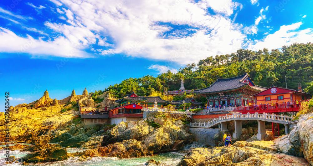 Fototapety, obrazy: Haedong Yonggungsa Temple and Haeundae Sea in Busan, South Korea