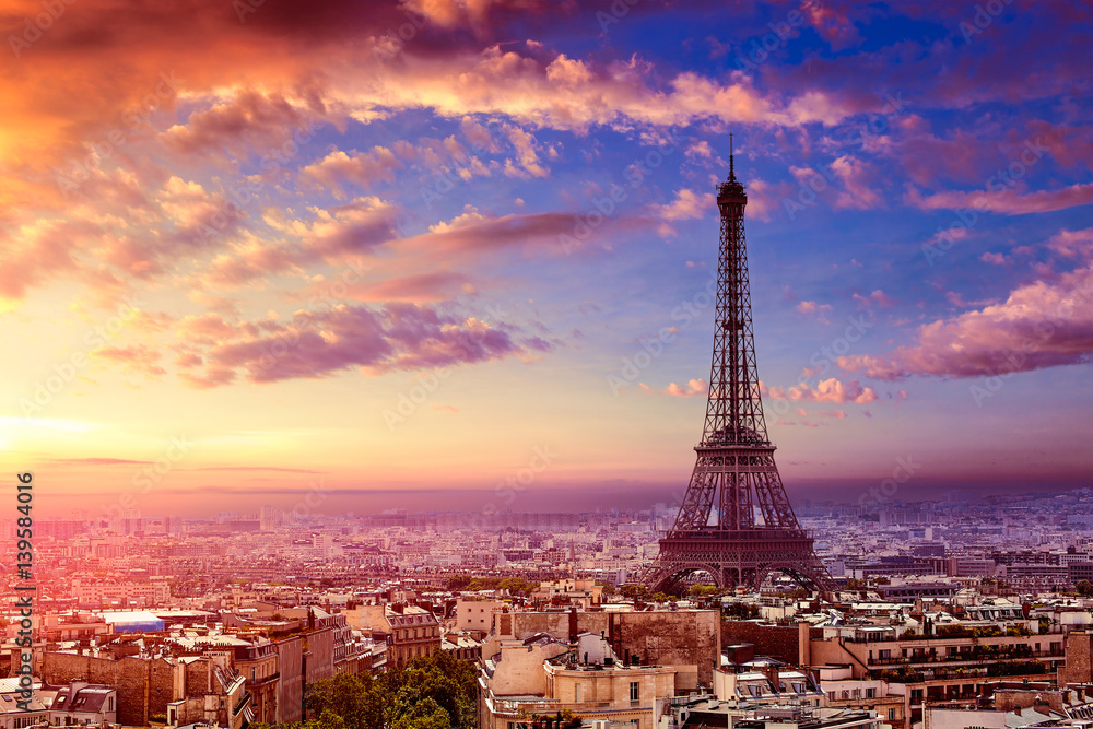 Fototapety, obrazy: Paris Eiffel tower and skyline aerial France