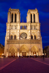 Notre Dame cathedral sunset in Paris France