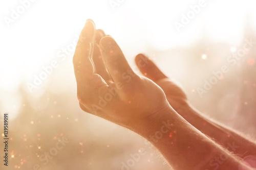 Leinwand Poster Human hands open palm up.