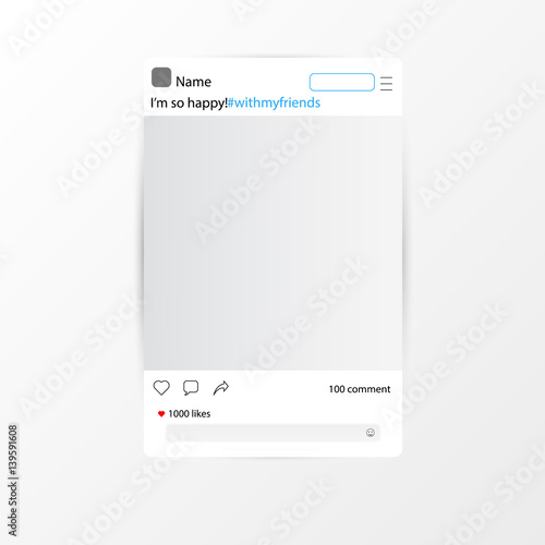 Fototapeta Frame, social network. Vector illustration obraz na płótnie