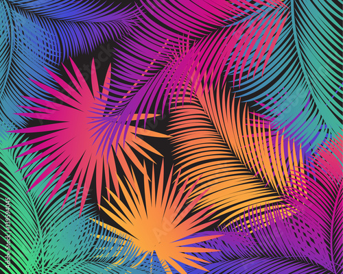 Pinturas sobre lienzo  Carnival abstract colorful palm tree leaves pattern