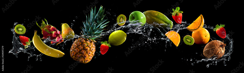 Fototapeta Fruits with water splash