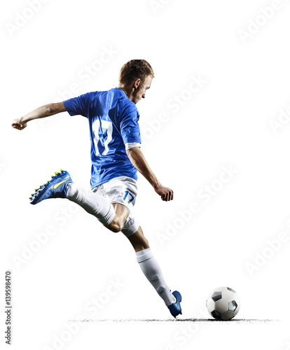 Photo  Professional football soccer player in action isolated white background