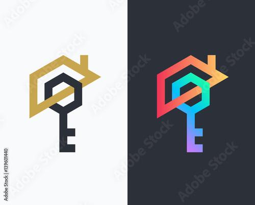 Obraz na płótnie Geometrical house and key icon.