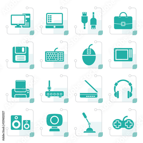 Fotografia Stylized Computer equipment and periphery icons - vector icon set
