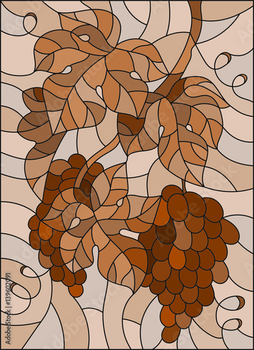 ilustracja-w-stylu-witrazu-z-bukietem-winogron-i-lisci-brazowy-odcien-sepia
