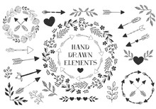 Set Of Hand Drawn Arrows, Hearts, Laurels. Vector. Isolated.