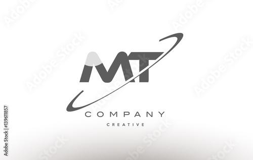 Fototapeta mt m t  swoosh grey alphabet letter logo