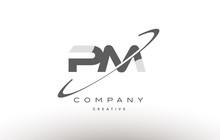 Pm P L  Swoosh Grey Alphabet Letter Logo