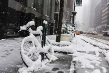 Bicycle Covered In Snow During...