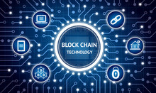 Blockchain , Cryptocurrencies , Bitcoin Concept. Electric Circuit Graphic And Infographic Of Block Chain , Network Connect , Security , Binary Coded Icons.