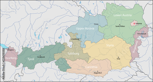 Cuadros en Lienzo Map of Austria