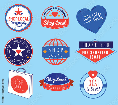 series of vintage retro logos based on shop local theme Wall mural