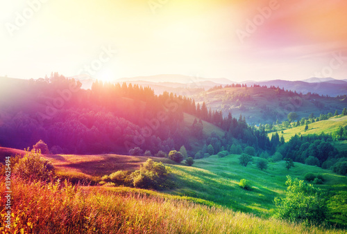 фотография  Summer sunset in mountains