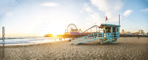 Santa Monica pier at sunset Wallpaper Mural