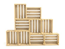 Empty Wooden Crates Arranged 3D