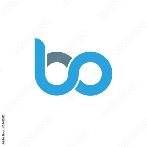 Initial letter bo modern linked circle round lowercase logo blue gray Wallpaper Mural
