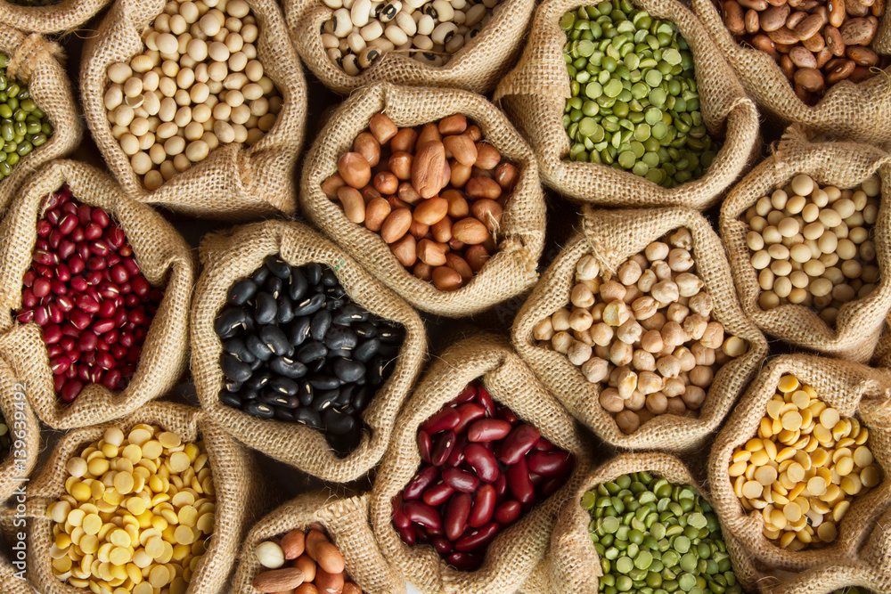 Fototapety, obrazy: Legumes bean seed in sack, top view