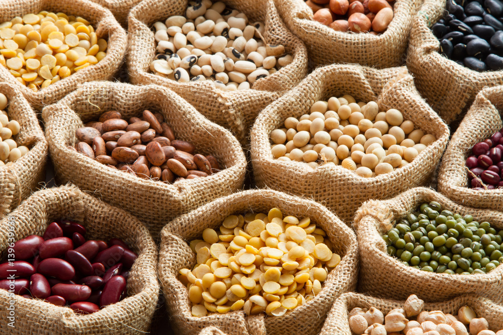 Fototapety, obrazy: Colorful Legumes, bean seed in linen sack