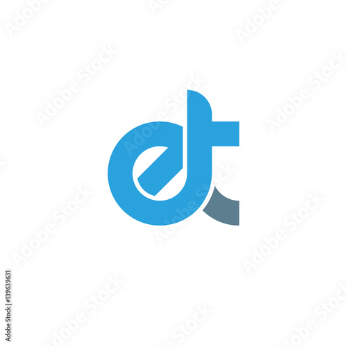 Photo  Initial letter et modern linked circle round lowercase logo blue gray