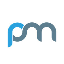 Initial Letter Pm Modern Linked Circle Round Lowercase Logo Blue Gray