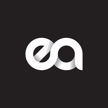 Initial Lowercase Letter Ea, Linked Circle Rounded Logo With Shadow Gradient, White Color On Black Background