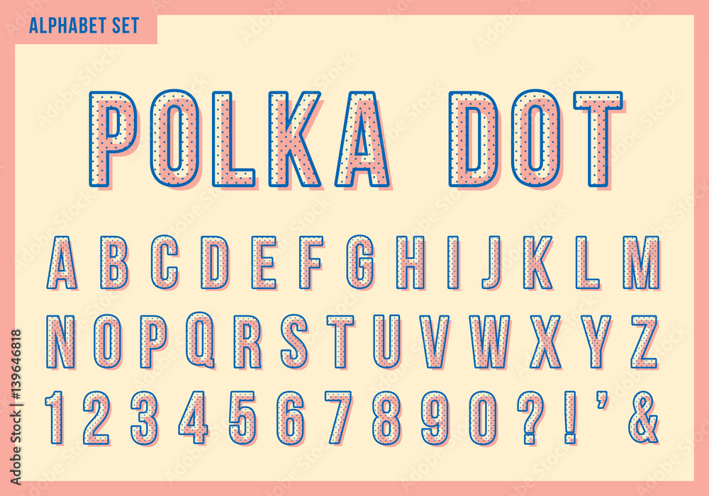 Fototapety, obrazy: Polka dot alphabet letters set. Vector retro vintage typography. Font collection for title or headline design.