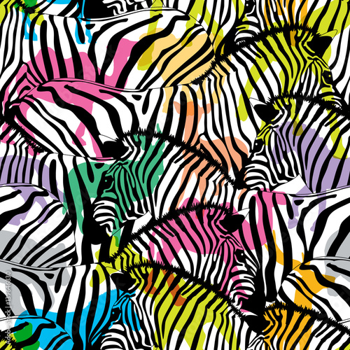 Photographie Zebra with colorful silhouette wildlife animals, seamless pattern