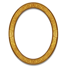 Oval Frame Gold Color With Sha...