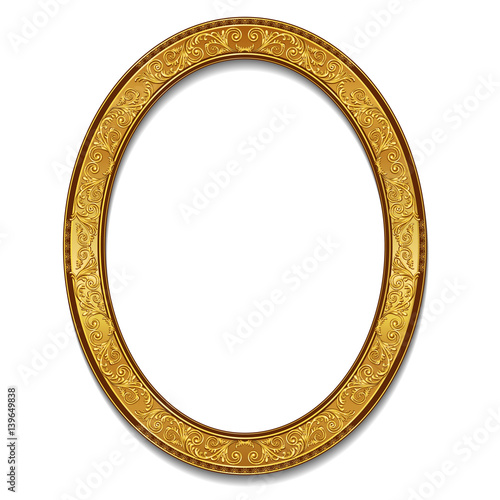Fototapeta oval frame gold color with shadow obraz