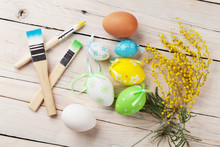Colorful Easter Eggs And Brushes