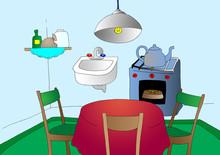 Cartoon Kitchen On Blue Background