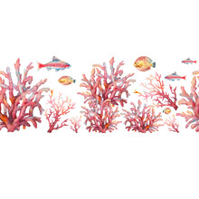 Watercolor Nautical Seamless Pattern. Hand Painted Underwater Repeating Border With Fishes And Corals On White Background. Sea Ornament Design