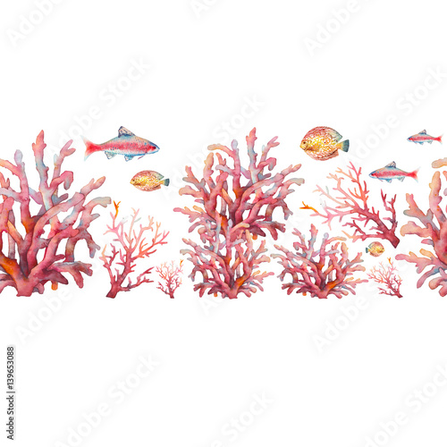 Fototapeta premium Watercolor nautical seamless pattern. Hand painted underwater repeating border with fishes and corals on white background. Sea ornament design
