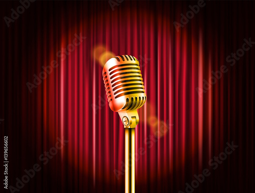 Fotografija  Stage curtains with golden microphone vector illustration