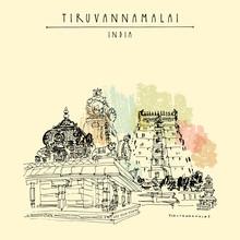 Tiruvannamalai, Tamil Nadu, India. Hindu Temple, Gopurams, Holy Cow Statue