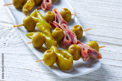 Gilda pinchos with olives and anchovies tapas