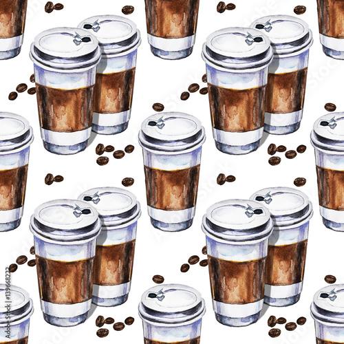 akwarela-bezszwowe-wzor-z-dwoch-jednorazowych-filizanek-kawy-i-ziaren-kawy-recznie