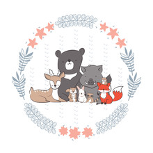 Cute Rabbit, Squirrel, Fox, Bear, Wild Boar, Deer, Raccoon And Beaver In Floral Frames Hand Drawing Vector Illustration For Kid T-shirt Print, Greeting And Invitation Card
