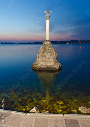 Fotografie, Obraz  Monument to the scuttled ships in Sevastopol in the evening