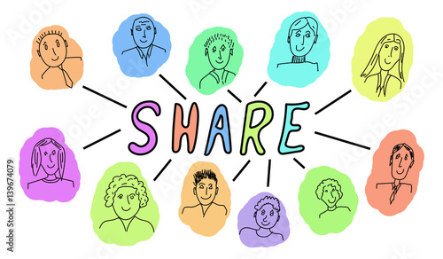 Fotografie, Tablou  Drawing of share concept