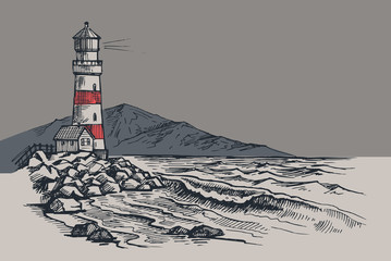 Fototapeta Marynistyczny Lighthouse vector drawing